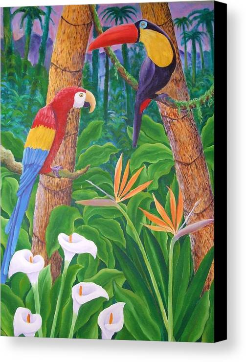 Tropical Landscape Birds Flowers Canvas Print featuring the painting In The Jungle by Jubamo