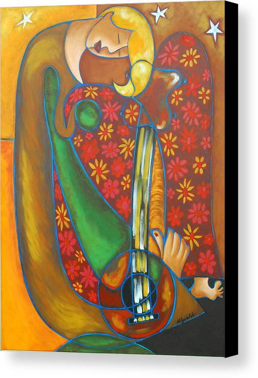 Abstract Expressionism Canvas Print featuring the painting Maggie Guitar by Marta Giraldo