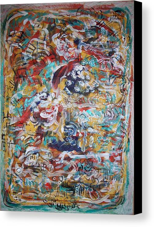 Abstract Canvas Print featuring the painting Movements In Love by Helene Champaloux-Saraswati