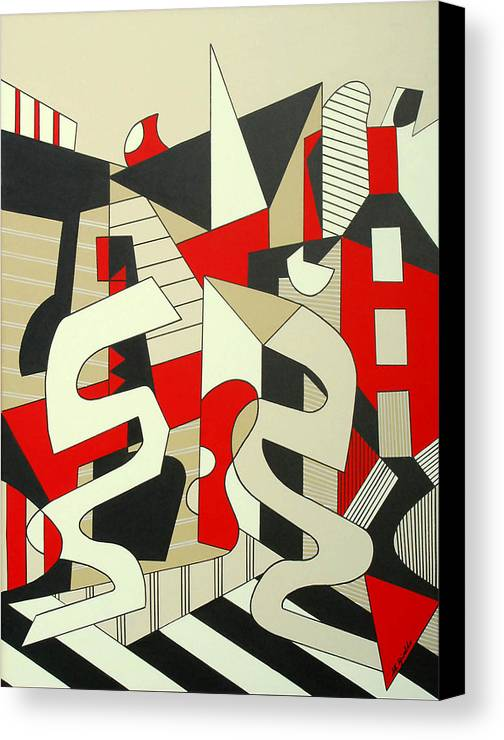 Abstract Expressionism Canvas Print featuring the painting Tulcea by Marta Giraldo