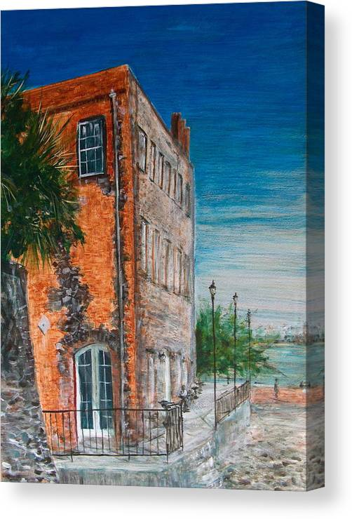 Savannah Canvas Print featuring the painting River Street by Pete Maier