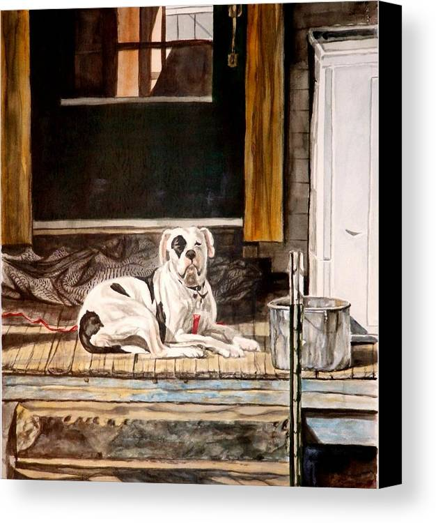 Animal Canvas Print featuring the painting Doorkeep by Thomas Akers