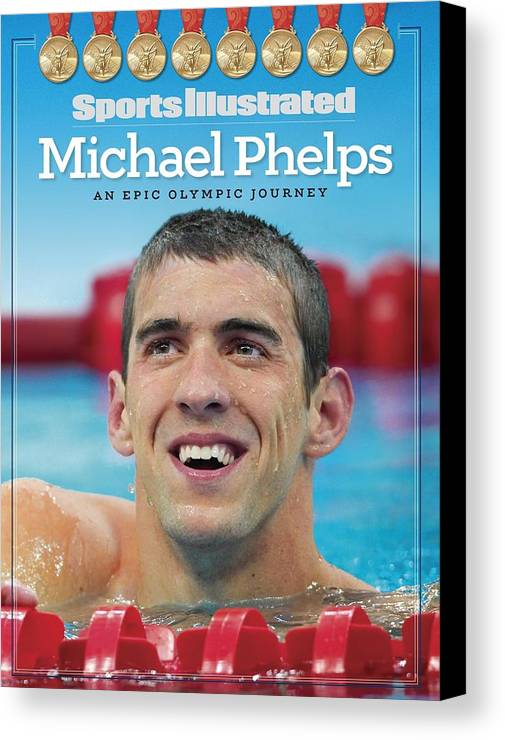 The Olympic Games Canvas Print featuring the photograph Usa Michael Phelps, 2008 Summer Olympics Sports Illustrated Cover by Sports Illustrated