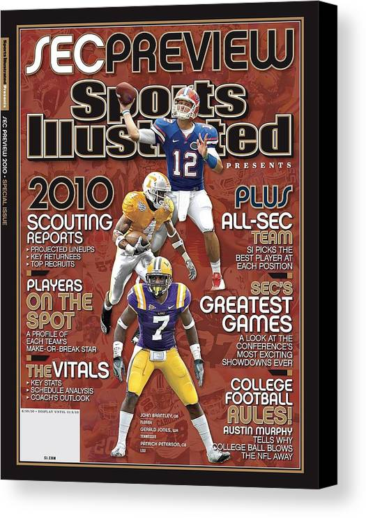 Motion Canvas Print featuring the photograph 2010 Sec Football Preview Issue Sports Illustrated Cover by Sports Illustrated