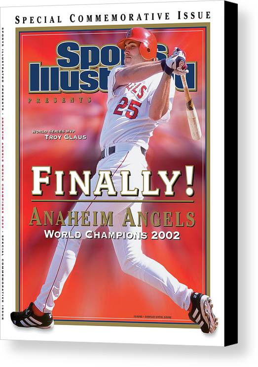 Playoffs Canvas Print featuring the photograph Anaheim Angels Troy Glaus, 2002 World Series Champions Sports Illustrated Cover by Sports Illustrated