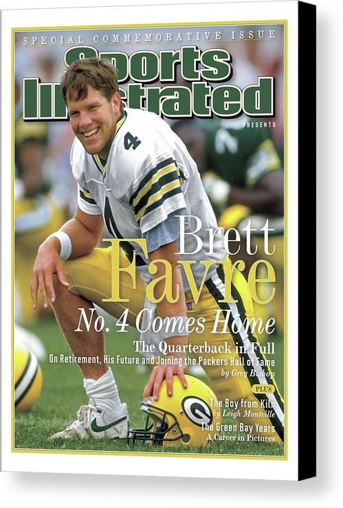 De Pere Canvas Print featuring the photograph Brett Favre, No. 4 Comes Home Special Commemorative Issue Sports Illustrated Cover by Sports Illustrated