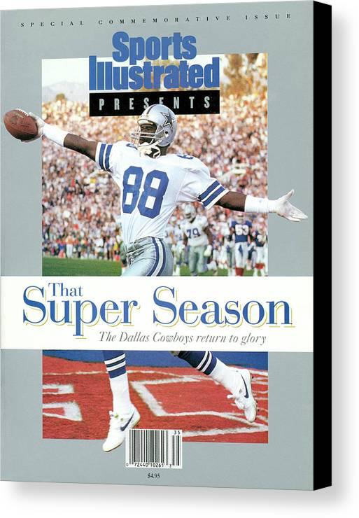 Scoring Canvas Print featuring the photograph Dallas Cowboys Michael Irvin, Super Bowl Xxvii Sports Illustrated Cover by Sports Illustrated