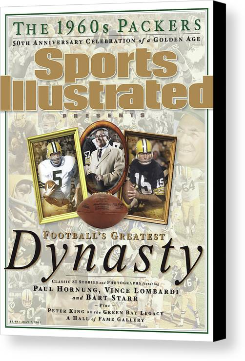 Celebration Canvas Print featuring the photograph Footballs Greatest Dynasty The 1960s Packers Sports Illustrated Cover by Sports Illustrated