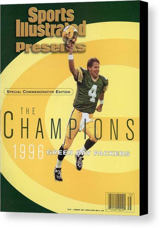 Super Bowl Xxxi Canvas Print featuring the photograph Green Bay Packers Qb Brett Favre, Super Bowl Xxxi Sports Illustrated Cover by Sports Illustrated