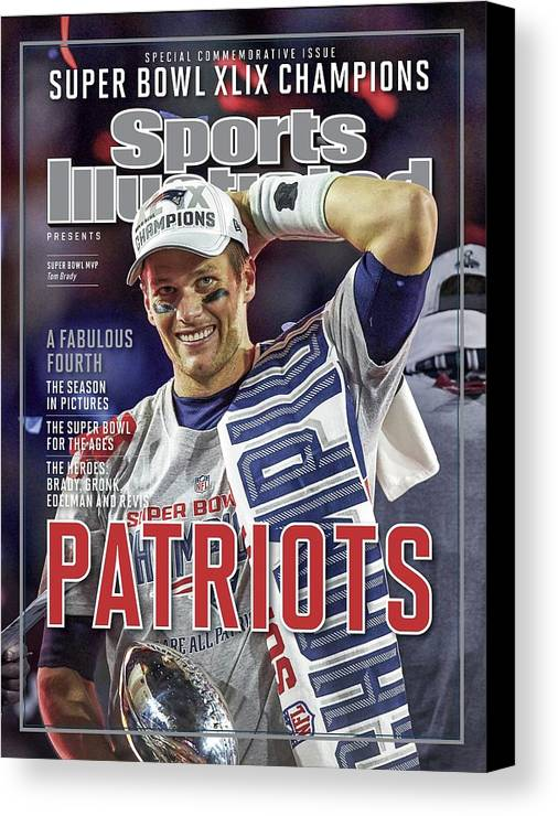 Vince Lombardi Trophy Canvas Print featuring the photograph New England Patriots Qb Tom Brady, Super Bowl Xlix Champions Sports Illustrated Cover by Sports Illustrated