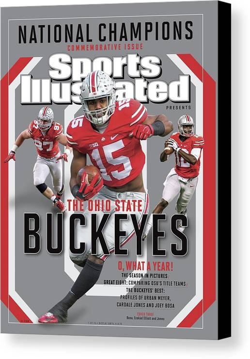 Ohio State Buckeyes Canvas Print featuring the photograph Ohio State University 2014 Ncaa National Champions Sports Illustrated Cover by Sports Illustrated