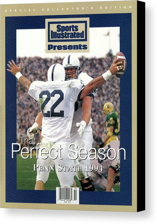 People Canvas Print featuring the photograph Penn State University Brian Milne, 1994 Ncaa Perfect Season Sports Illustrated Cover by Sports Illustrated