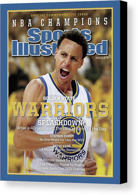 Playoffs Canvas Print featuring the photograph Splashdown Golden State Warriors 2015 Nba Champions Sports Illustrated Cover by Sports Illustrated