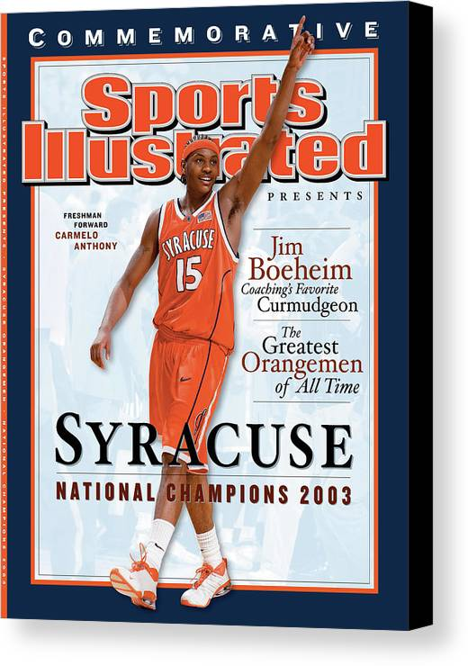 Louisiana Superdome Canvas Print featuring the photograph Syracuse University Carmelo Anthony, 2003 Ncaa National Sports Illustrated Cover by Sports Illustrated