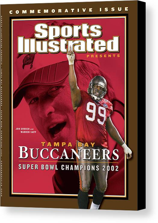 Warren Sapp Canvas Print featuring the photograph Tampa Bay Buccaneers, Super Bowl Xxxvii Champions Sports Illustrated Cover by Sports Illustrated