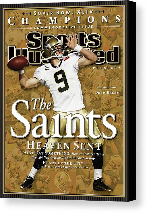 Miami Gardens Canvas Print featuring the photograph The Saints, Heaven Sent Super Bowl Xliv Champions Sports Illustrated Cover by Sports Illustrated