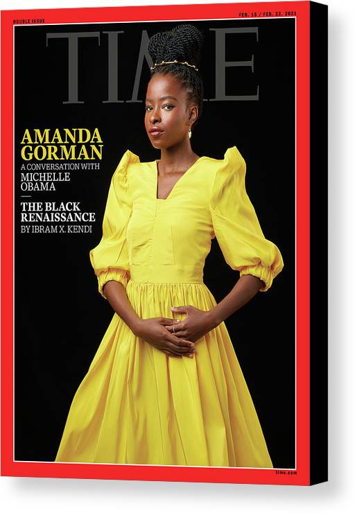 Amanda Gorman Canvas Print featuring the photograph Amanda Gorman - The Black Renaissance by Photograph by Awol Erizku for TIME