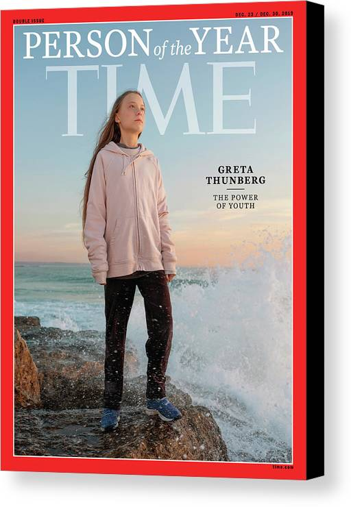 Time Canvas Print featuring the photograph 2019 Person of the Year - Greta Thunberg by Photograph by Evgenia Arbugaeva for TIME