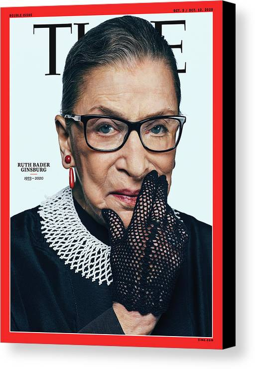 Us Supreme Court Canvas Print featuring the photograph Ruth Bader Ginsburg 1933-2020 by Photograph by Sebastian Kim--AUGUST for TIME