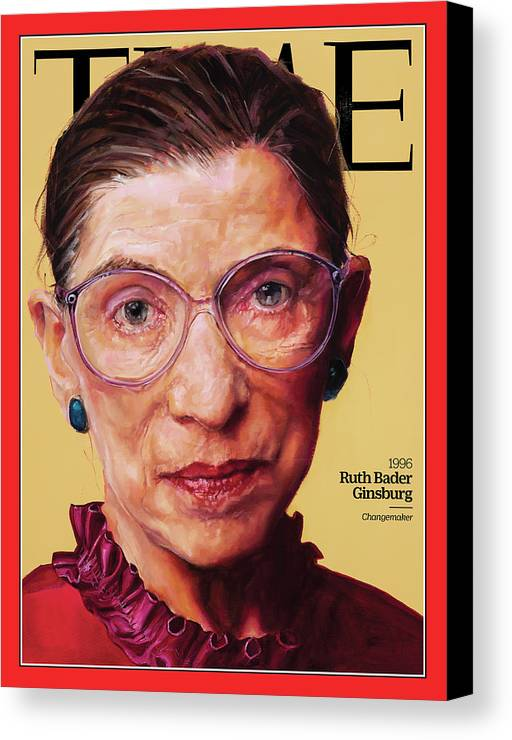Time Canvas Print featuring the photograph Ruth Bader Ginsburg, 1996 by Painting by Shana Wilson for TIME