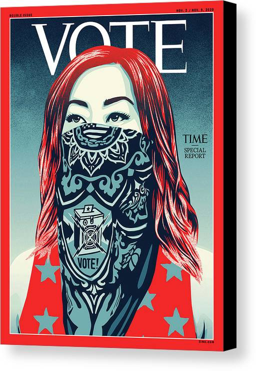 2020 Us Presidential Election Canvas Print featuring the photograph Vote 2020 by Illustration by Shepard Fairey for TIME