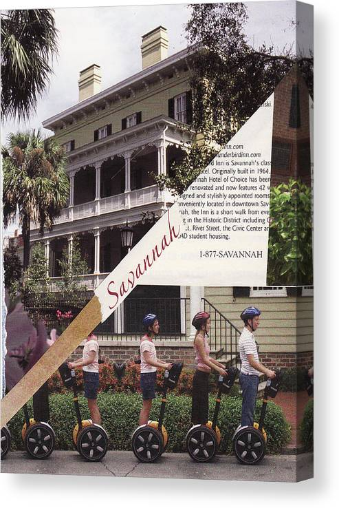 Collage Canvas Print featuring the mixed media 1-877-Savannah by Matthew Hoffman