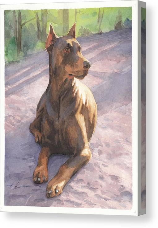 <a Href=http://miketheuer.com Target =_blank>www.miketheuer.com</a> Canvas Print featuring the drawing Doberman Puppy Pencil Portrait by Mike Theuer