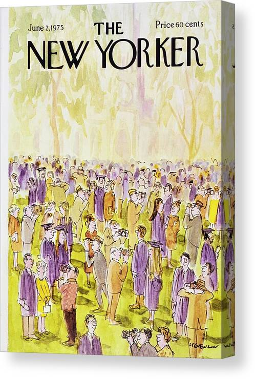 Illustration Canvas Print featuring the painting New Yorker June 2nd 1975 by James Stevenson