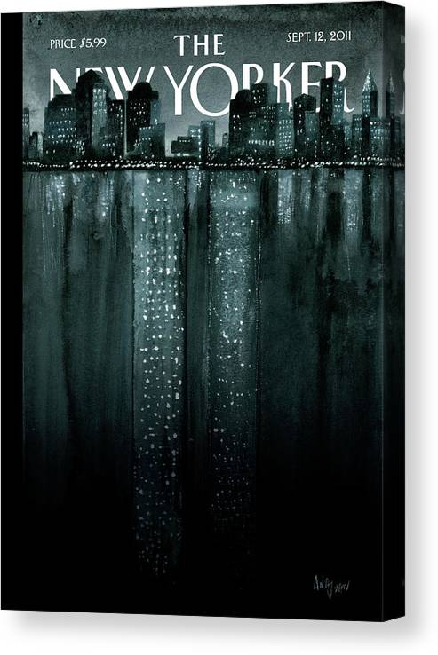 Trade Center Canvas Print featuring the painting Reflections by Ana Juan