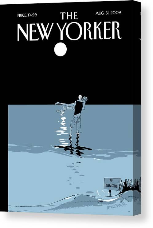 Beach Canvas Print featuring the painting No Trespassing by Istvan Banyai