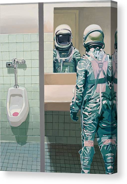 Astronaut Canvas Print featuring the painting Men's Room by Scott Listfield