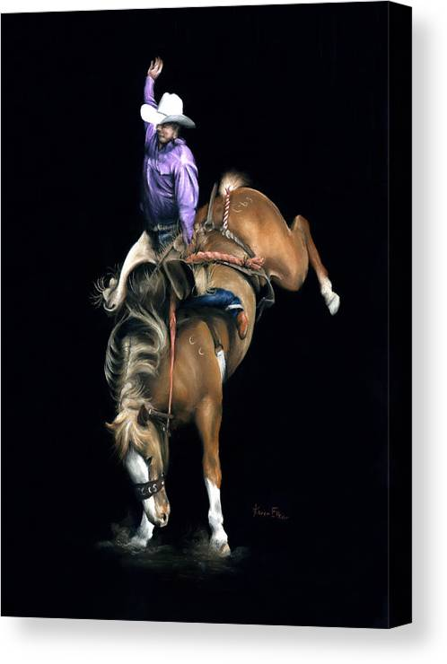Rodeo Canvas Print featuring the pastel The Bronc by Karen Elkan