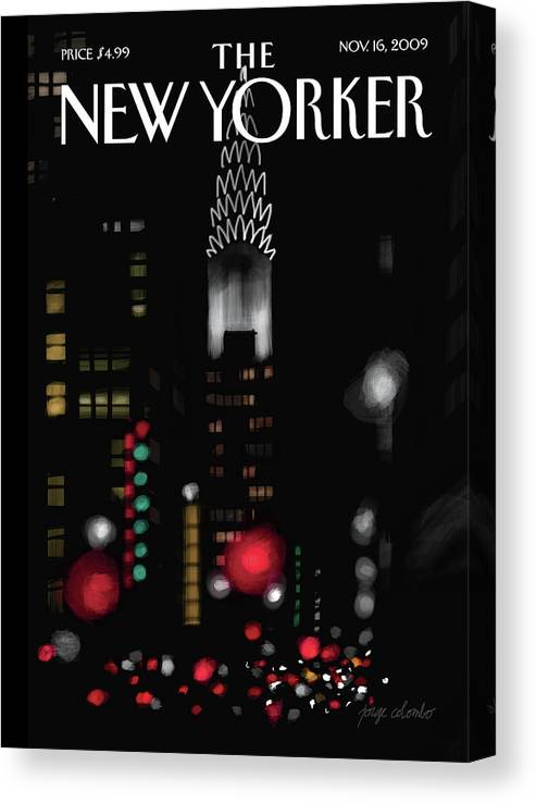 New York Canvas Print featuring the painting Night Lights by Jorge Colombo