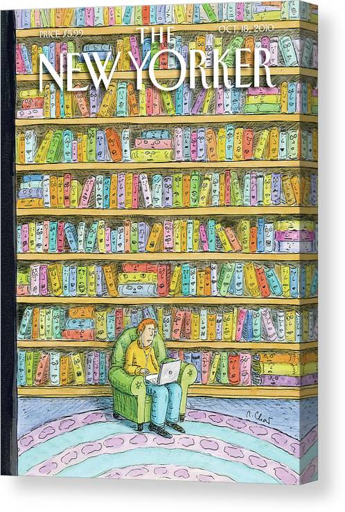 Computer Canvas Print featuring the painting Shelved by Roz Chast