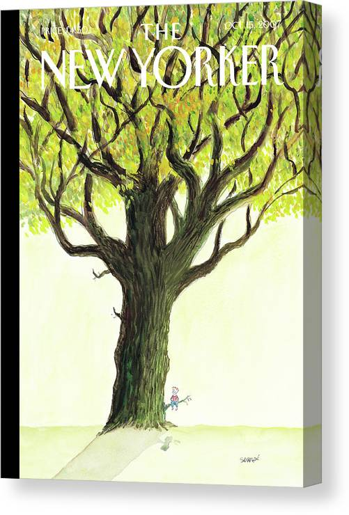 Tree Canvas Print featuring the painting New Yorker October 15th, 2007 by Jean-Jacques Sempe