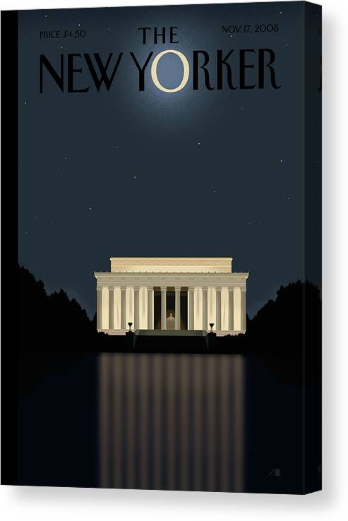 Lincoln Canvas Print featuring the painting Reflection by Bob Staake
