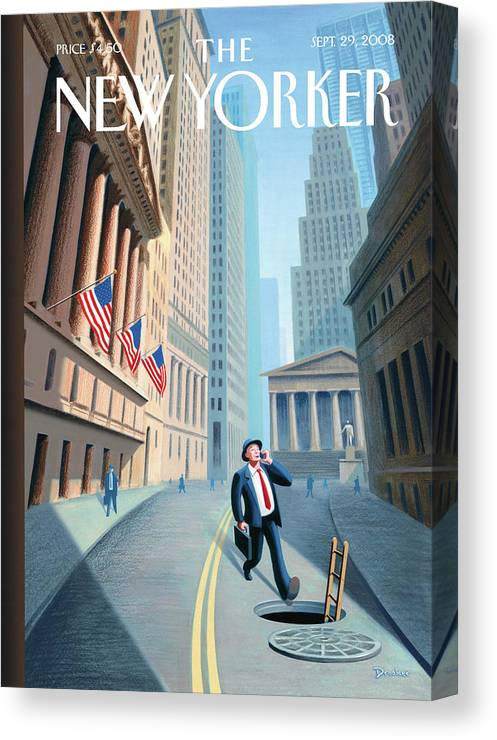Wall Street Canvas Print featuring the painting Downward Mobility by Eric Drooker