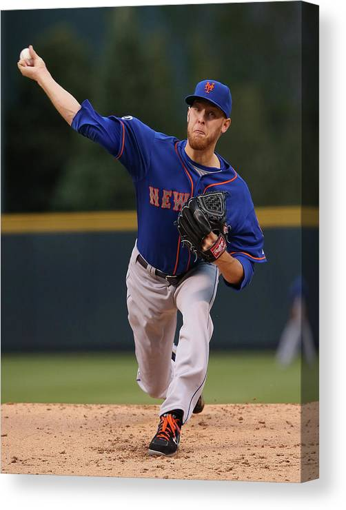 Baseball Pitcher Canvas Print featuring the photograph New York Mets V Colorado Rockies by Doug Pensinger
