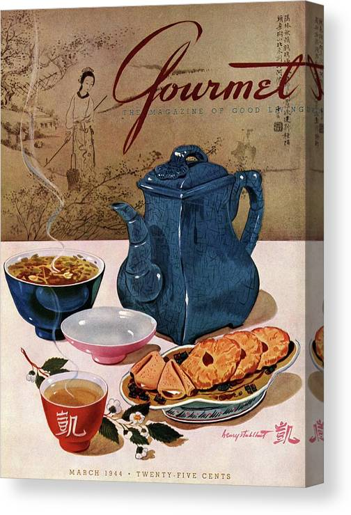 Food Canvas Print featuring the photograph A Chinese Tea Pot With Tea And Cookies by Henry Stahlhut