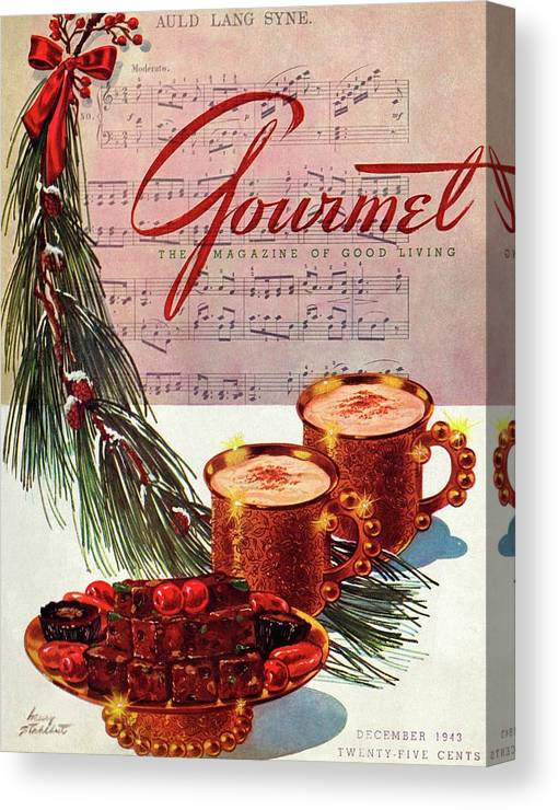 Illustration Canvas Print featuring the painting A Christmas Gourmet Cover by Henry Stahlhut