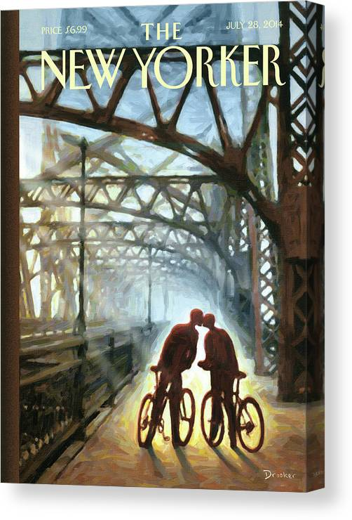 Bicycle Canvas Print featuring the painting Fifty Ninth Street Bridge by Eric Drooker