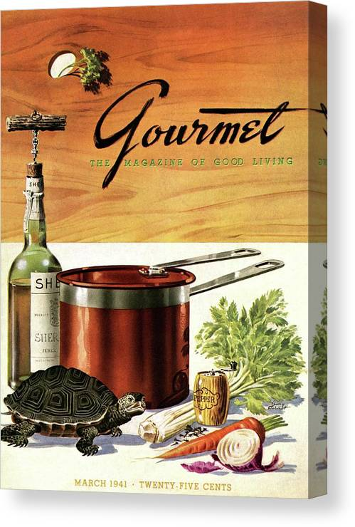 Illustration Canvas Print featuring the photograph A Gourmet Cover Of Turtle Soup Ingredients by Henry Stahlhut