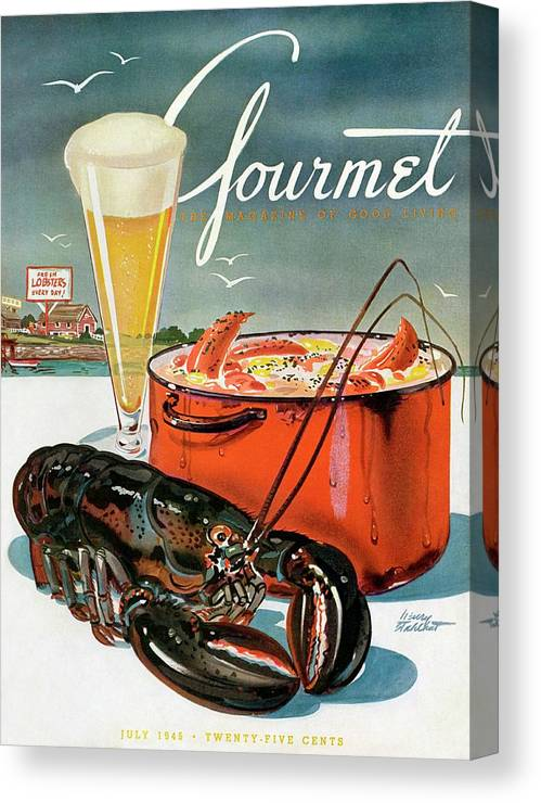 Illustration Canvas Print featuring the photograph A Lobster And A Lobster Pot With Beer by Henry Stahlhut