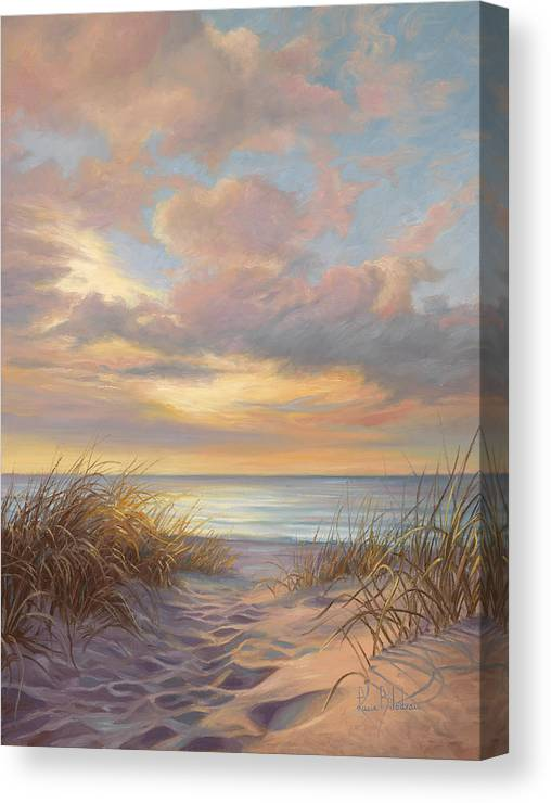 Beach Canvas Print featuring the painting A Moment Of Tranquility by Lucie Bilodeau