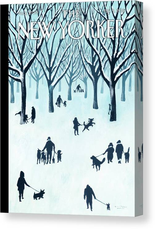 Snow Canvas Print featuring the painting A Walk In The Snow by Mark Ulriksen