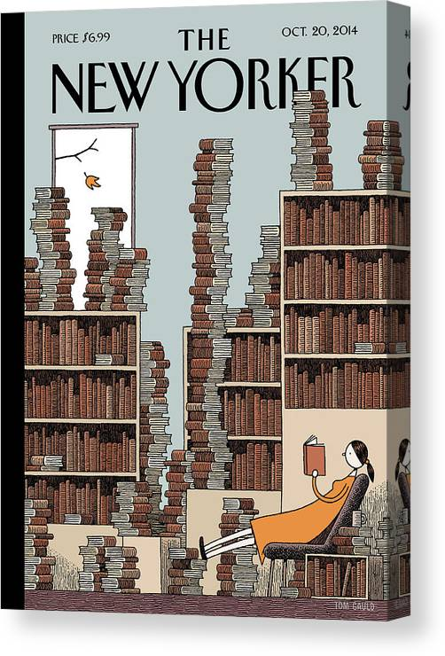 Books Canvas Print featuring the painting Fall Library by Tom Gauld