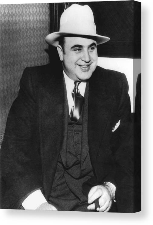 1035-790 Canvas Print featuring the photograph American Gangster Al Capone by Underwood Archives