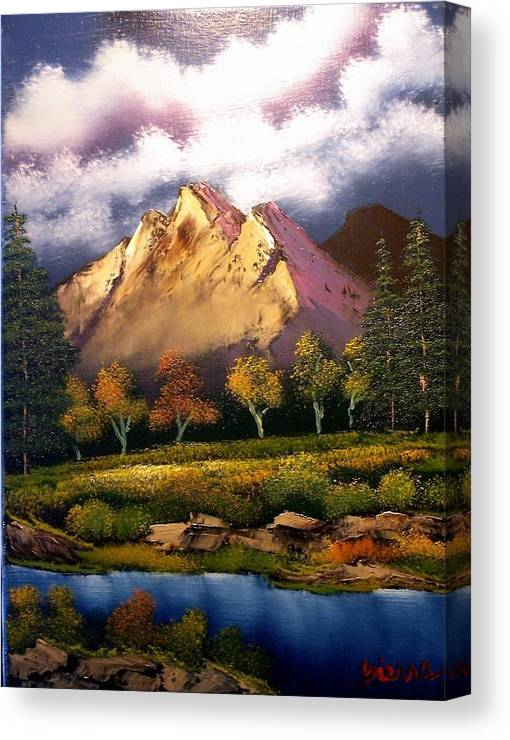 Landscape Canvas Print featuring the painting Autumn in the Valley by Dina Sierra
