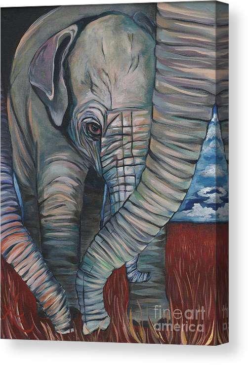 Baby Elephant Canvas Print featuring the painting Baby Comfort by Aimee Vance