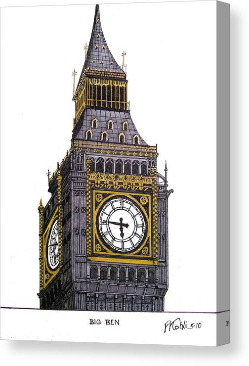 Ink Drawings Canvas Print featuring the drawing Big Ben by Frederic Kohli